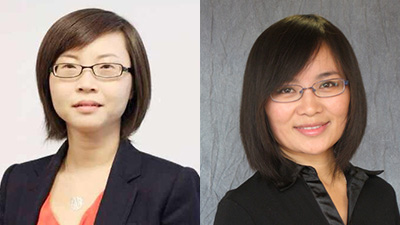 Researchers Lan Ni (left) and Qi Wang