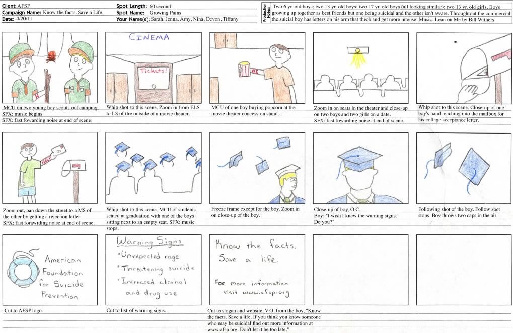 Storyboard for an American Foundation for Suicide Prevention TV Spot.
