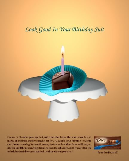 Print ad for Dove Promises, with the headline You can Have your Cake and Eat it too.