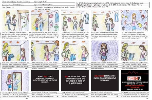 Storyboard for a National Eating Disorders Association TV Spot.