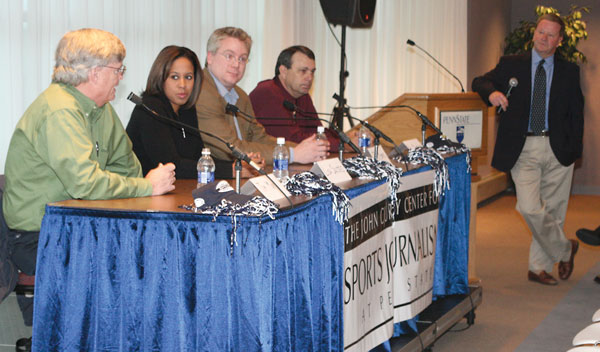 Lisa Salters sits with a panel of three other journalists during a conversation on covering big games.