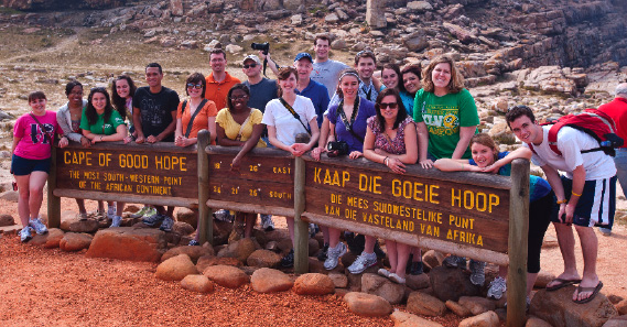 Sixteen Penn State students in South Africa for an International Reporting course.