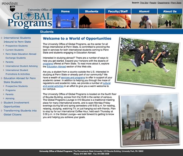 Penn State Global Programs Website