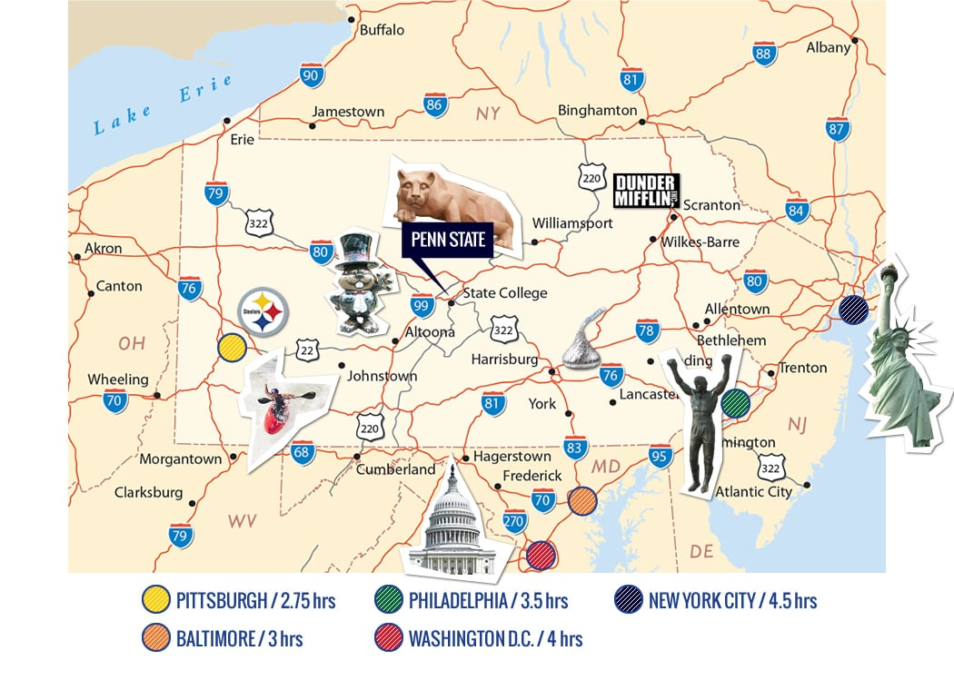 Penn State Location map