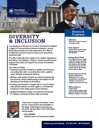 Bellisario College Brochure Cover - Diversity and Inclusion