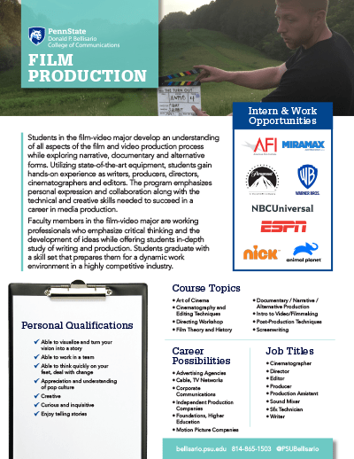 Bellisario College Brochure Cover - Film Production