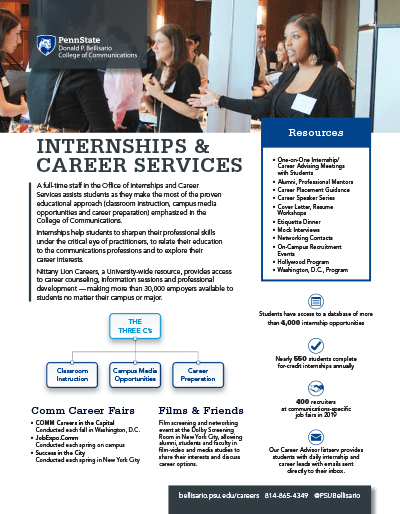 Bellisario College Brochure Cover - Office of Internships and Career Services