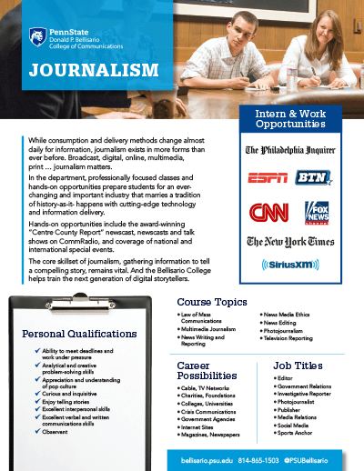 Bellisario College Brochure Cover - Journalism