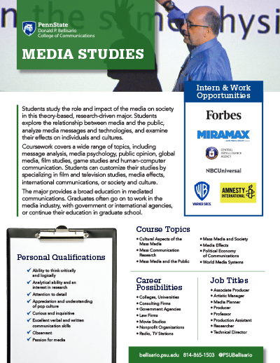 Bellisario College Brochure Cover - Media Studies