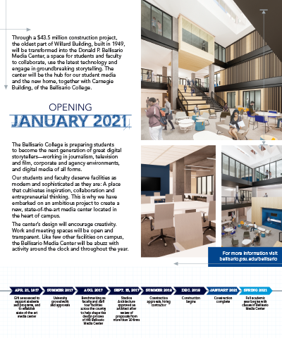 Interior of a brochure highlighting the Donald P. Bellisario Media Center, slated to open January 2021
