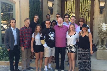 Legendary Hollywood producer/director Donald Bellisario (center) and his wife Vivienne (back row, right) host Penn Sate Hollywood Program students at their home in April 2016.