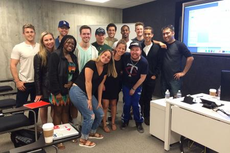 Penn State Hollywood Program students meet with actor/comedian Nick Swardson.