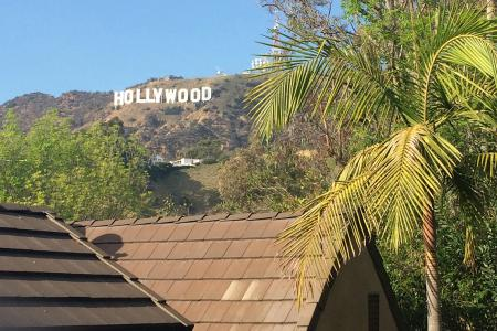 The iconic Hollywood sign is visible from the apartment complex where Hollywood Program students live during the semester.