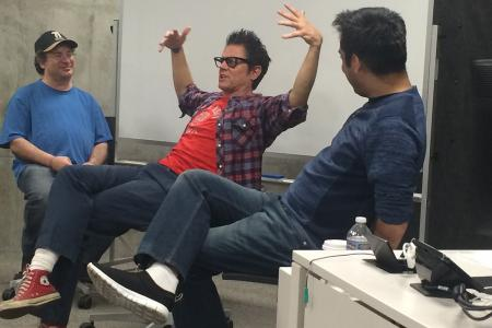 Actor Johnny Knoxville (center), writer/producer Ricky Blitt (left) and writer/comedian Deepak Sethi, who teaches The Art of Comedy in the Hollywood Program, met with program students to discuss the industry.