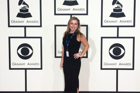 Hollywood Program student Lindsey Hutterer, an intern at CBS in publicity, attended the Grammy Awards.