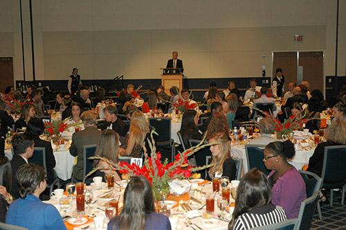 Dean Doug Anderson welcomes those in attendance at the Donor Dinner.