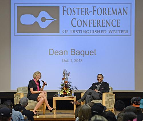 Dean Baquet (right) chats with Marie Hardin during the session Wednesday night at the HUB.