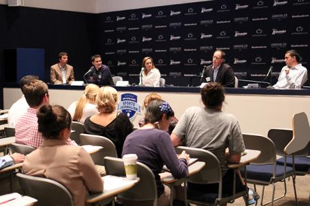 Representatives from Penn State Intercollegiate Athletics included (second from left to right): Matt Caracappa, Arielle Sargent, Loren Crispell and Rob Roselli. (Photo by Jeanine Wells)