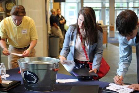 Students check-in upon their arrival at the Penn State All-Sports Museum. (Photo by Jeanine Wells)