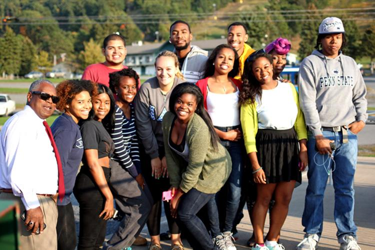 Assistant Dean Joseph Selden (left) with Diversity Ambassadors and their menthes. (Photo by Jeanine Wells)