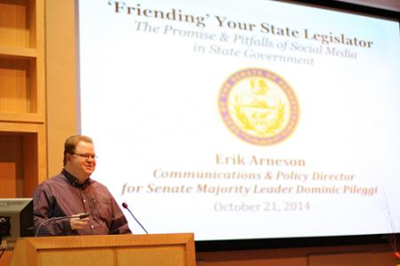 Arneson discussed how politicians use social media, and the related pitfalls. (Photo by Jeanine Wells)