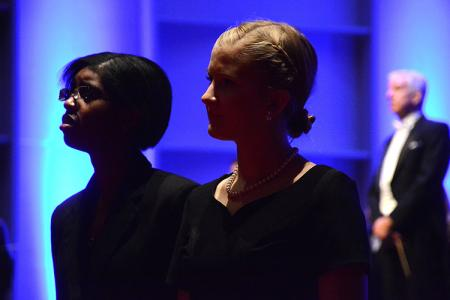 Choir Members Lashawn Williams (left) and Taylor Baum participate in a rehearsal. (Photo by Alexandra Zortman)