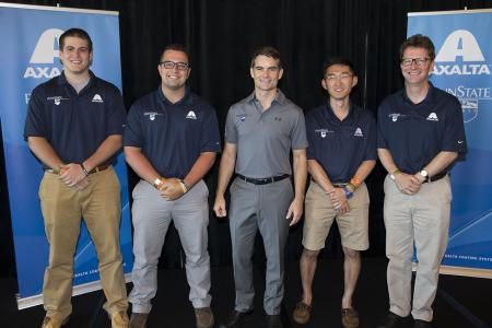 Four-time NASCAR Cup Series champion Jeff Gordon (center) with students (from left) Jeff Jezewski, Matt Mayer and Roger Van Scyoc, and John Affleck.