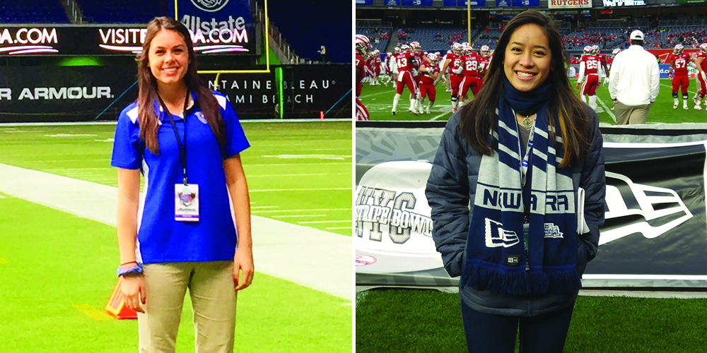 Erica Avallone (left) and Jaime Chan interned at bowl games over winter break.