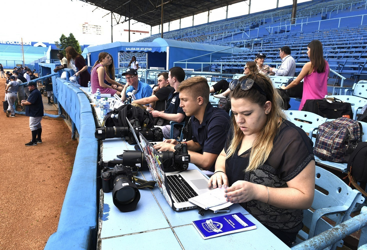 Students at work in Cuban press box