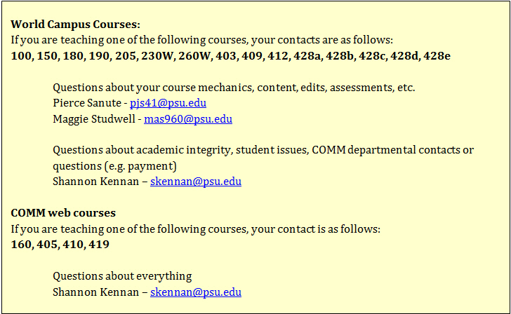 online course contacts