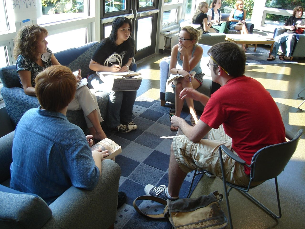 Penn State students in small discussion group