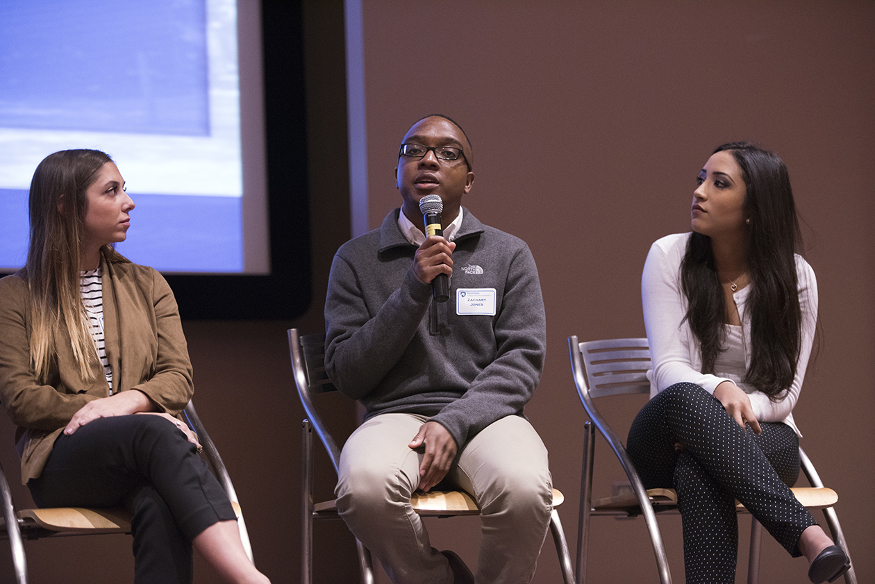 Student panelists talk at Open House