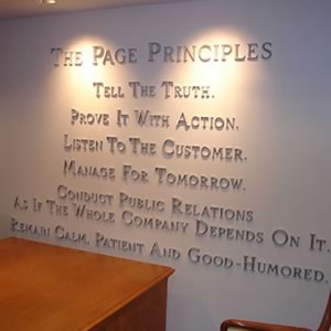 List of the Page Principles on the wall at the Page Center