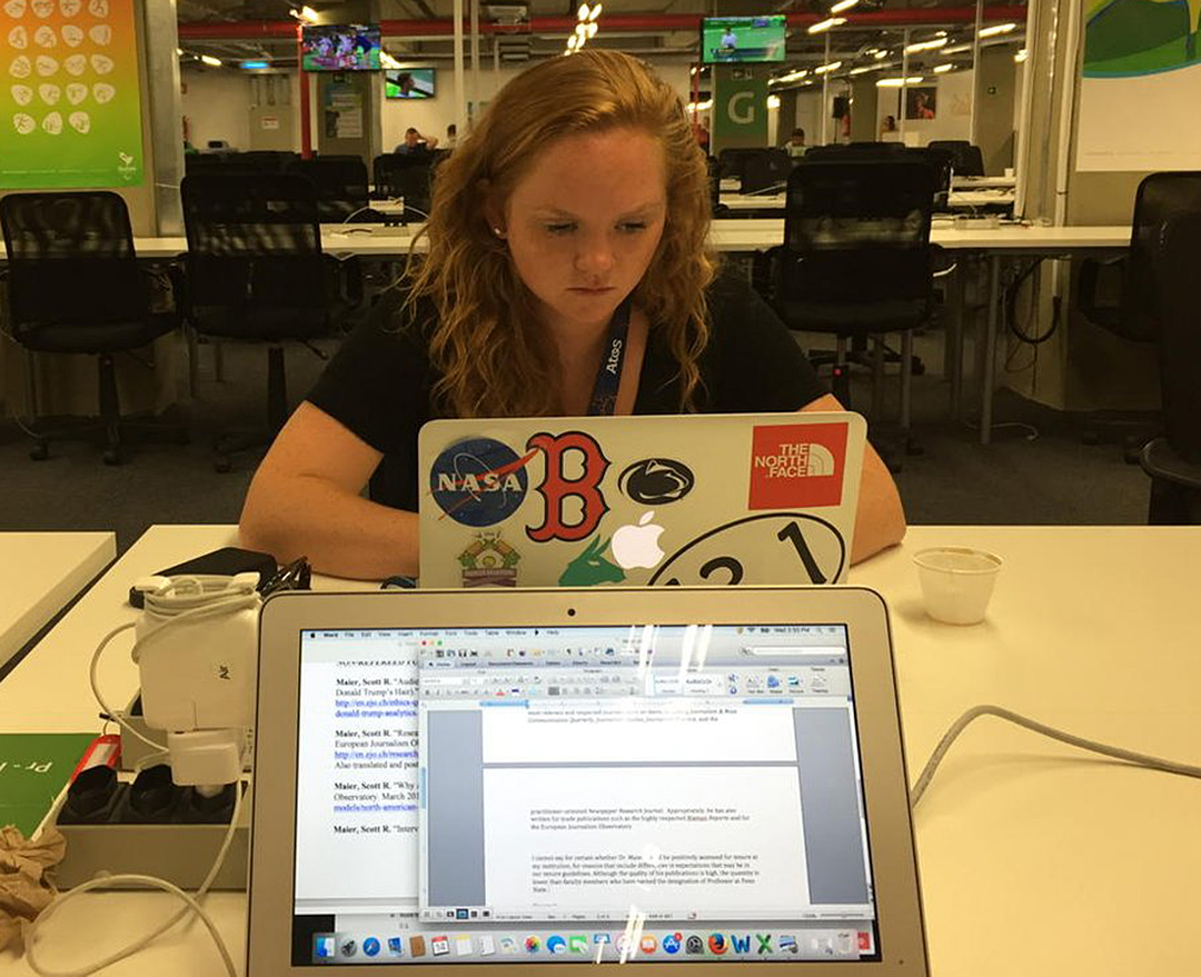 Reporter Emily Peacock at work