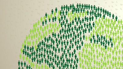 Conceptual graphic of the earth made up of green people