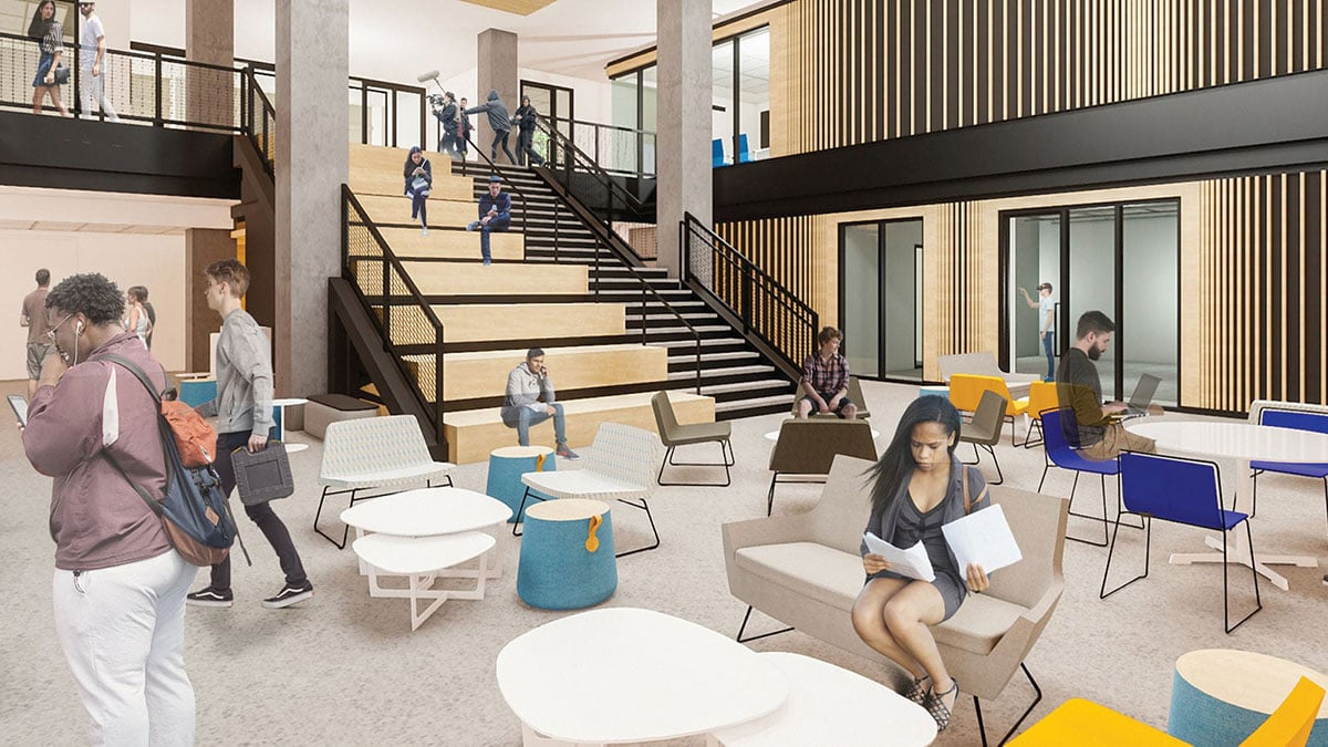 Architectural rendering of the inside of the new Bellisario Media Center
