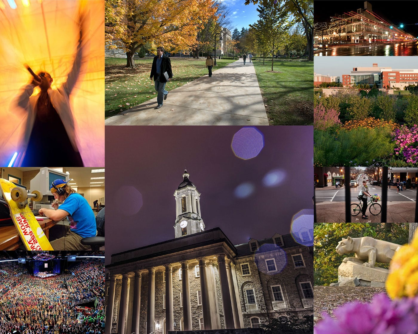 A collage of photographs that shows the beauty and energy on the University Park Campus and Downtown State College