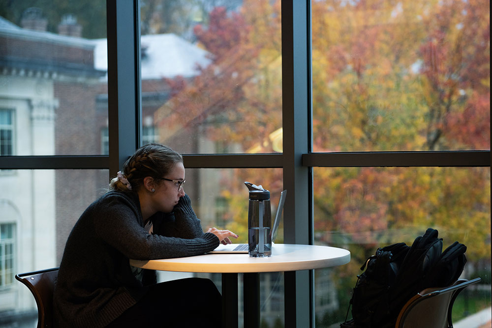 A student studying on her laptop in front of a window through which trees are changing color in the fall.