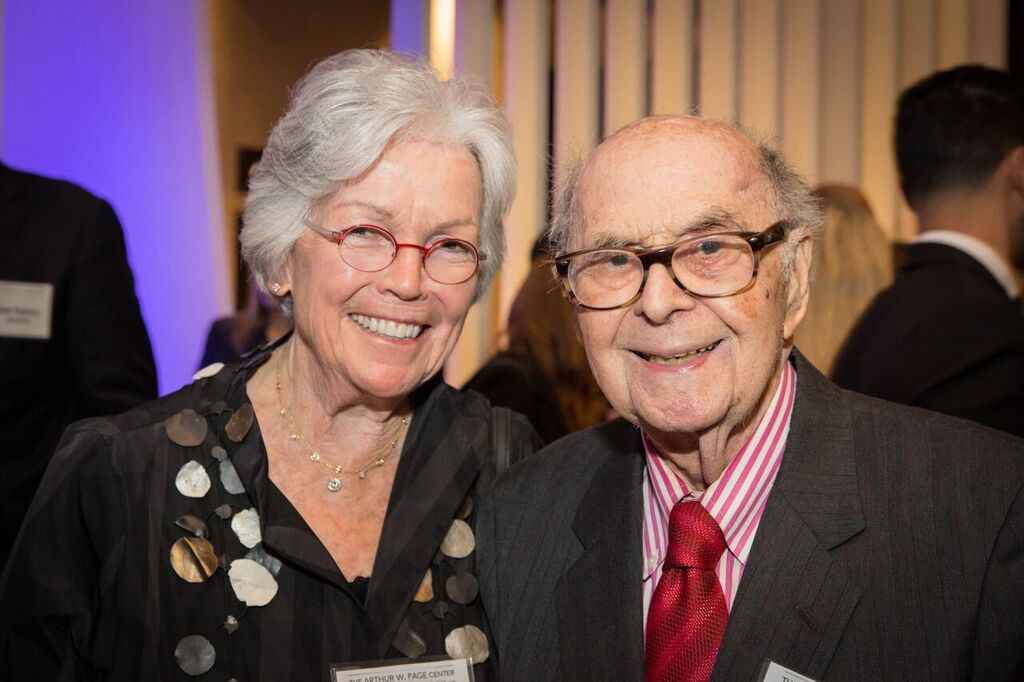 Honoree Ann Barkelew and Harold Burson.