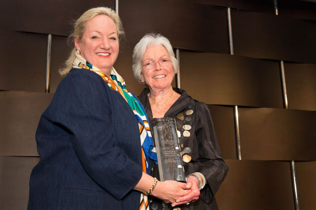Page Center advisory board member Maril MacDonald (left) and honoree Ann Barkelew.