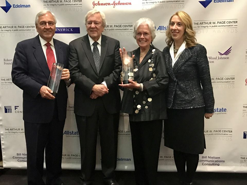 (From left to right) Honoree Dick Martin, Page Center advisory board chair Bill Nielsen, honoree Ann Barkelew and Page Center director Denise Bortree.