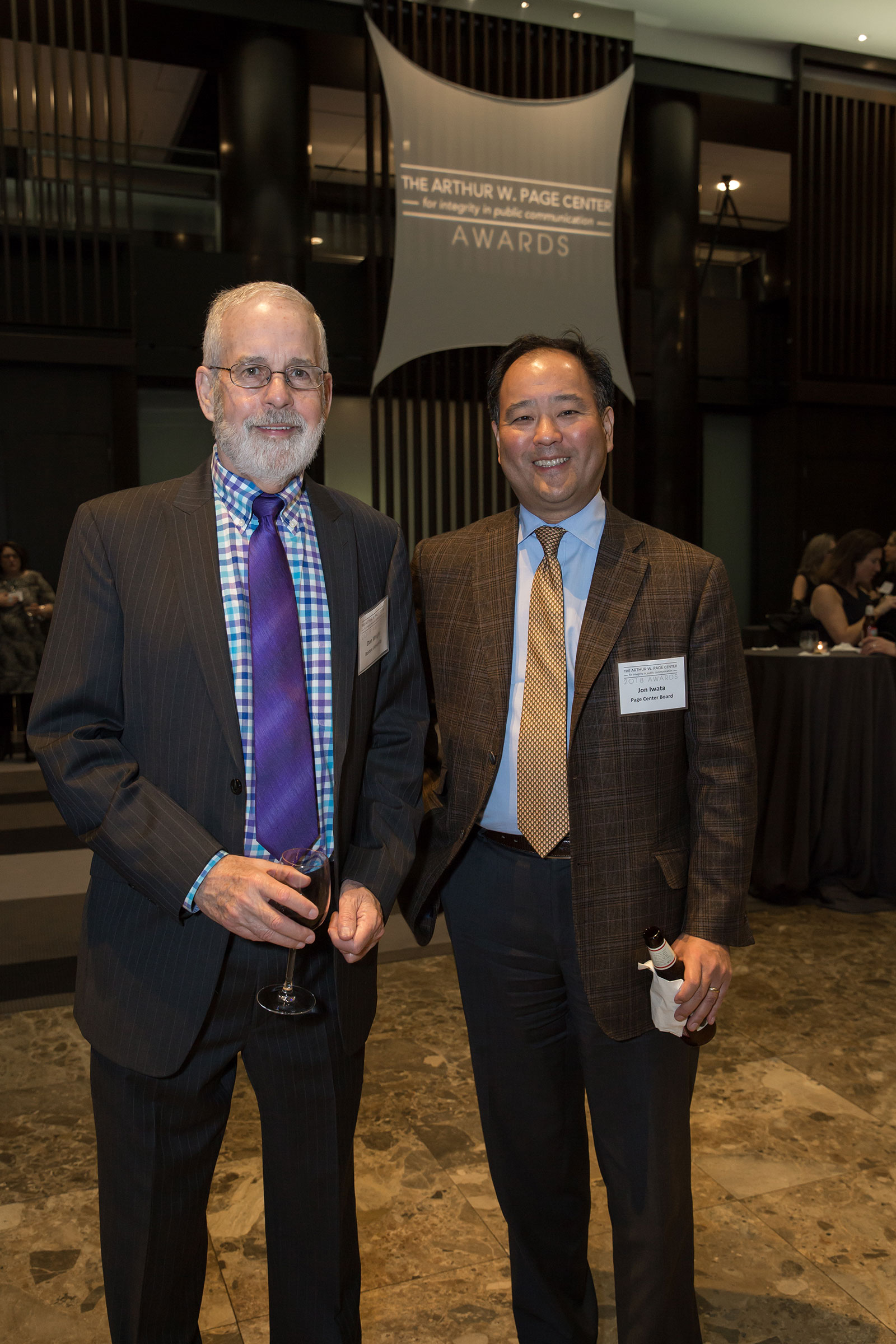 Don Wright (left) and Jon Iwata stop for a picture at the Arthur W. Page Center Awards.