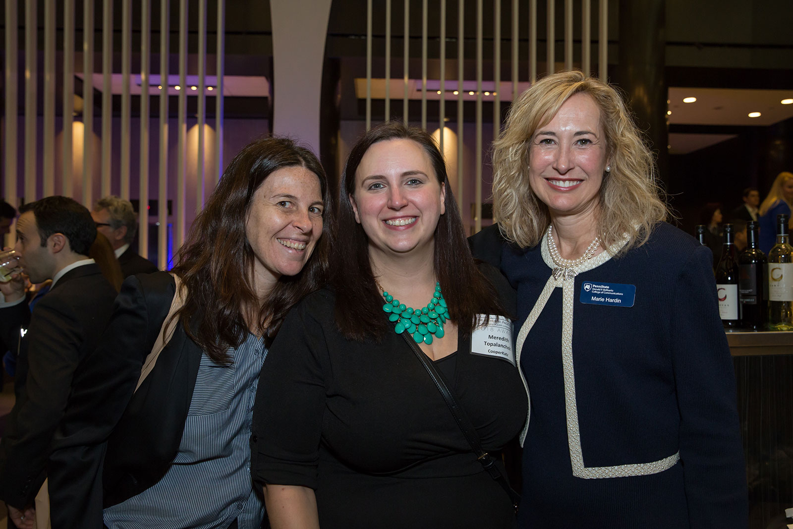 Advisory board member Ellyn Fisher (left), Meredith Topalanchek and Bellisario College dean Marie Hardin.