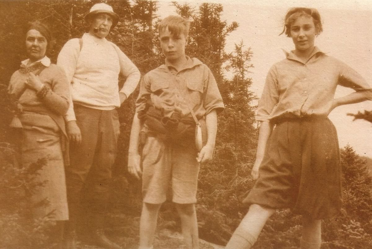 Arthur Page and his wife Mollie hiking with two of their children